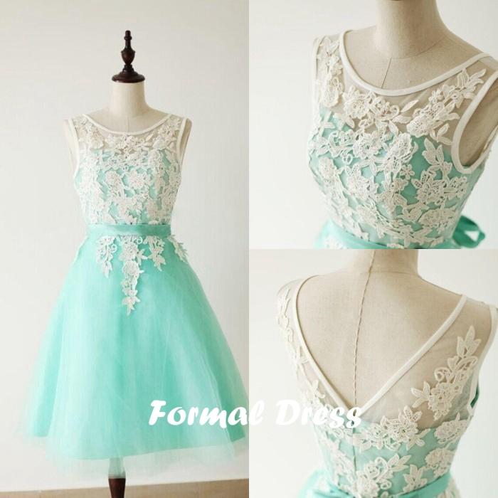 Formal Dress   Custom Made A-Line Round Neck Light Green Short Lace ...