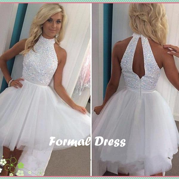 Formal Dress Pretty White Beading Tulle Short Prom Dress