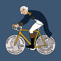 George Washington on bike with quarter wheels, 5x5 print