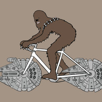 Chewbacca on a bike with millenium falcon wheels, 5x7 print