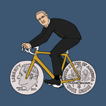 Franklin D Roosevelt riding bike with dime wheels, 5x5 print