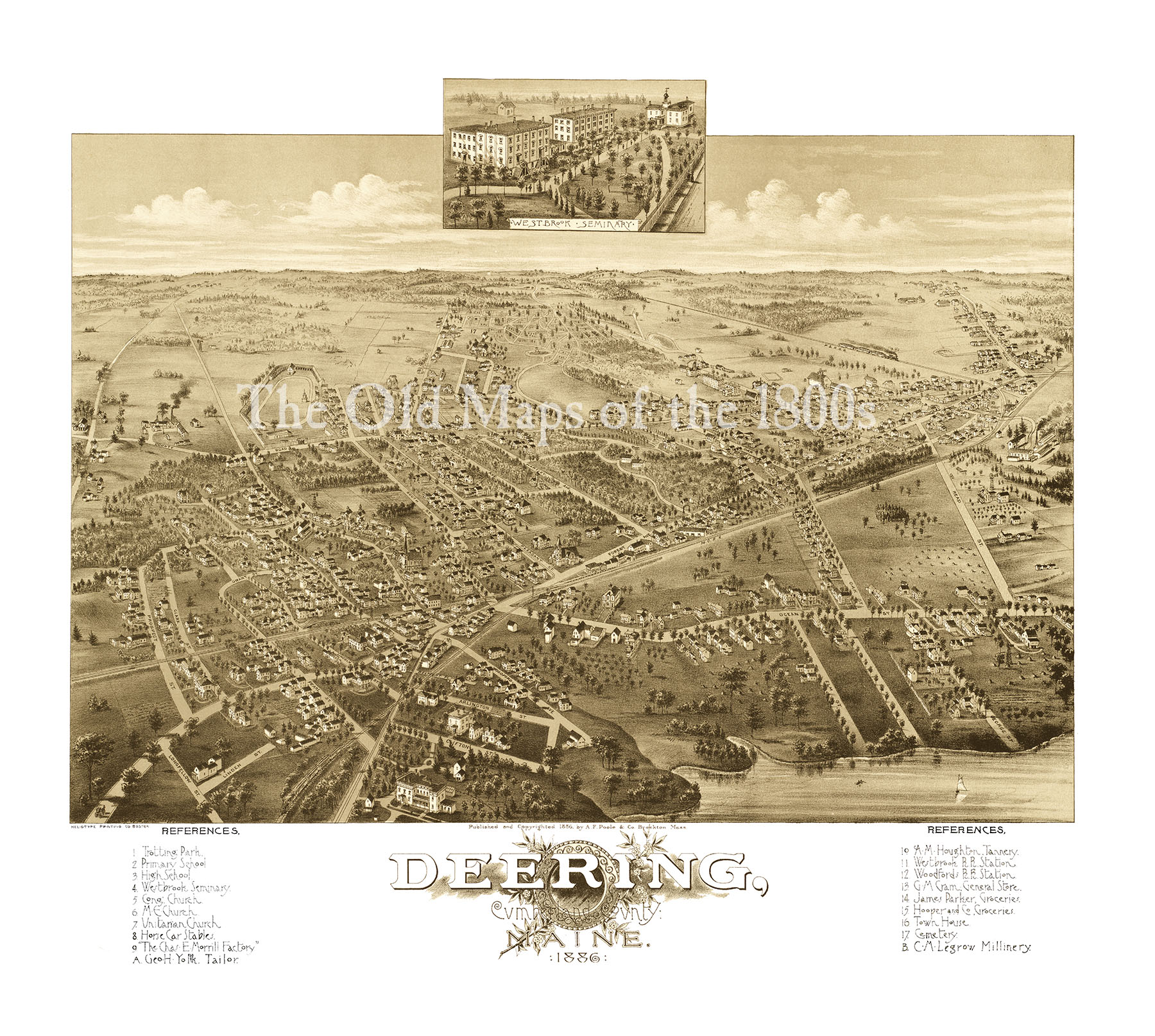 Deering, Maine in 1886 - Bird\'s Eye View Map, Aerial, Panorama ...