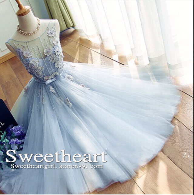 Sweetheart Girl Light Blue A Line Round Neck Tulle Long Prom Dress