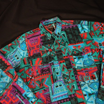Large frontier series aztec longsleeve button up