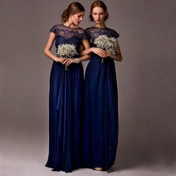 Long Bridesmaid Dress, navy blue Bridesmaid Dress, lace sleeves ...
