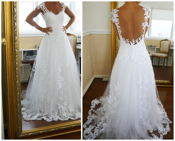 Newest White Backless Lace Wedding Dresses · 21weddingdresses ...