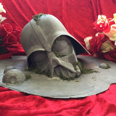 "19""w x 8""h custom darth vader faux concrete puddle"