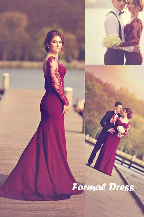 Formal Dress | Burgundy mermaid long prom dresses, long sleeve ...
