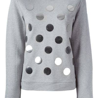 Diesel black gold grey polka dot sweatshirt