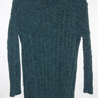 Green faux chenille sweater