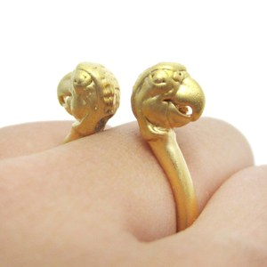 Realistic Double Parrot Bird Totem Open Band Ring in Gold | US Size 6 or 7