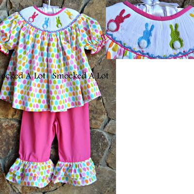 Smocked easter bunny pompom tail ruffled pants set