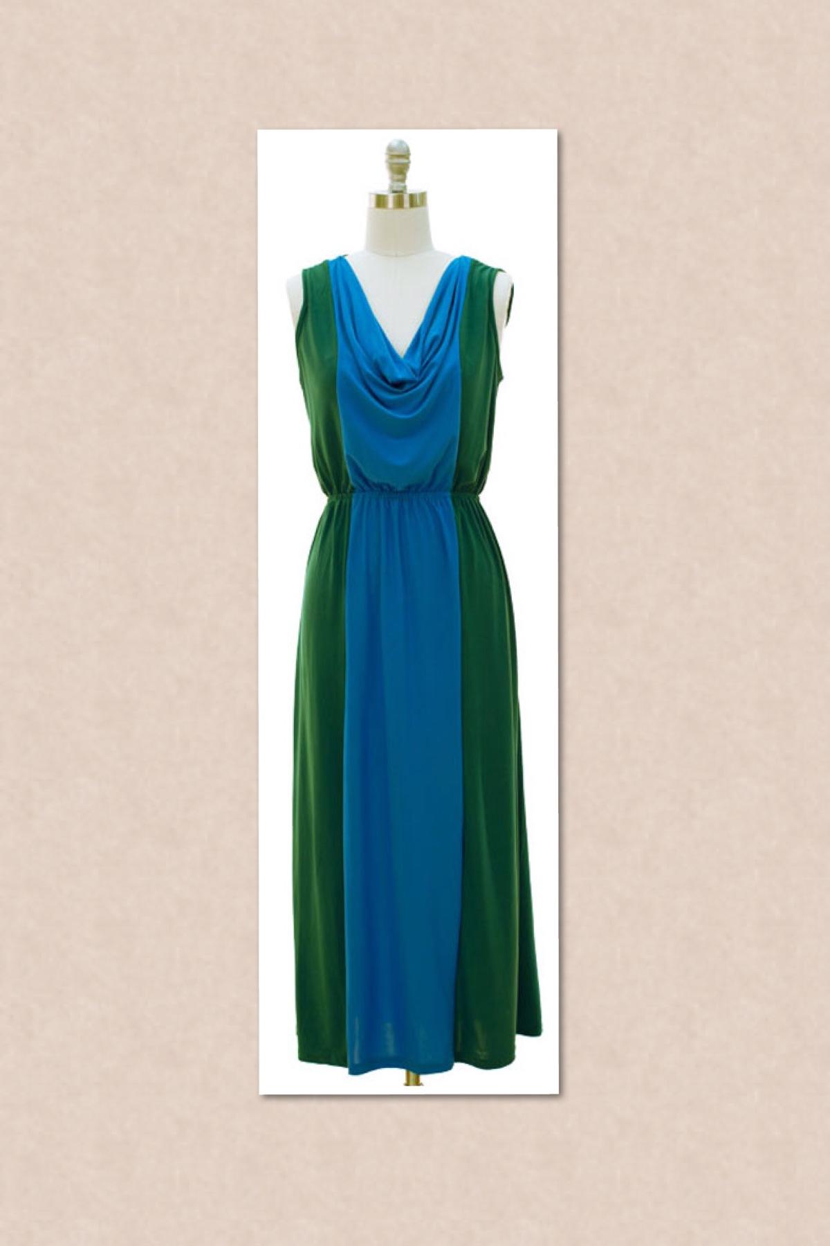Imani Boutique Colorblock Turquoise Maxi Dress Online