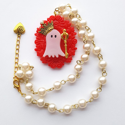 Pearl resin royal crown ghost short necklace gothic harajuku fashion