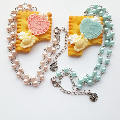 Pearl pastel green blue heart candy biscuit cookie frosting chain necklace cream kawaii harajuku fashion