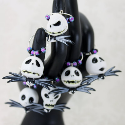 6 night before halloween christmas wine charms / stitch markers - gifts under 25 - boogeyman - goth