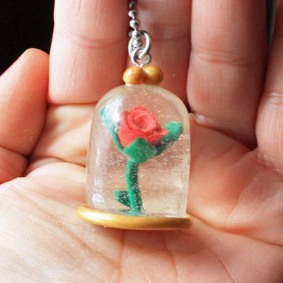 Enchanted rose necklace - dome - once upon a time - polymer clay - gifts for her