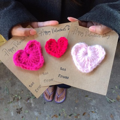10 pack of crochet heart valentines