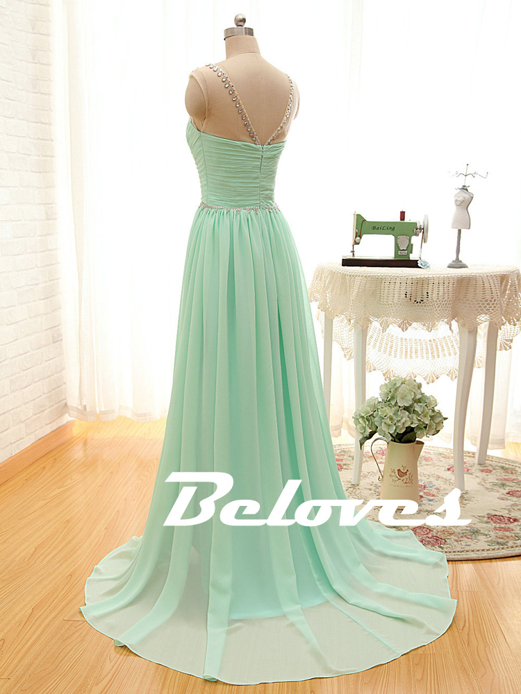 mint green beaded illusion chiffon prom dress with ruched