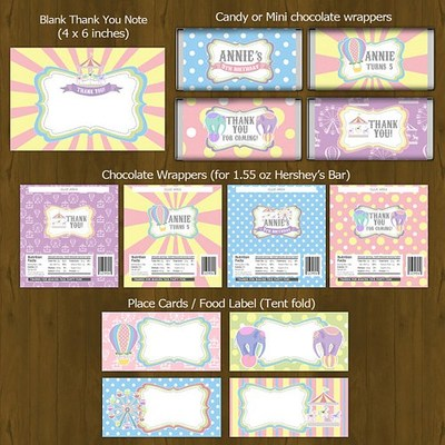 Carnival carousel printable birthday party decorations package - amusement park party themed birthday set for girls - invites, cupcake toppers etc