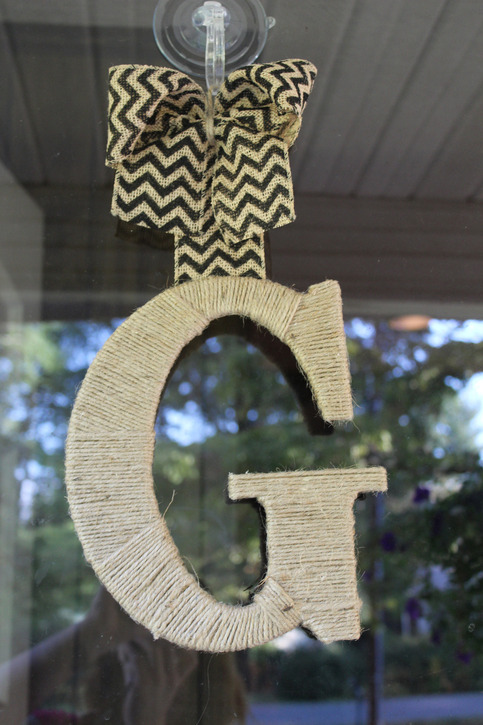 twine wrapped initial door hanger with burlap chevron bow  choose your color