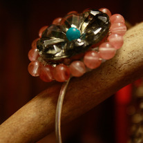 Vintage Glass and Strawberry Quartz Sterling Bracelet
