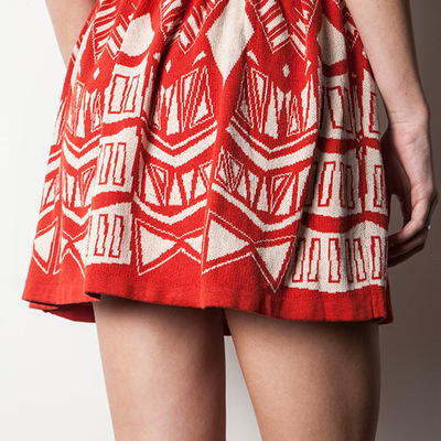 High waist tribal printed knit circle skirt (red/white)