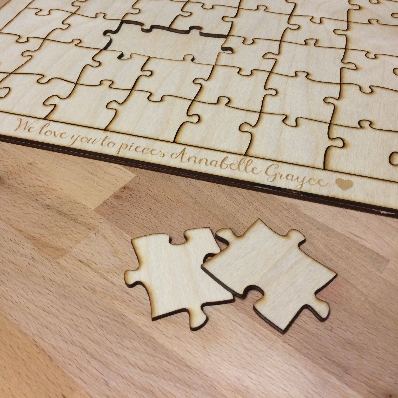 100 Piece Blank Wooden Puzzle Guest Book Alternative 16\