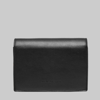 Corrine metal bar flap shoulder bag (black) by melie bianco