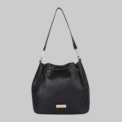 Stephanie bucket bag with contrast trim (black) by melie bianco