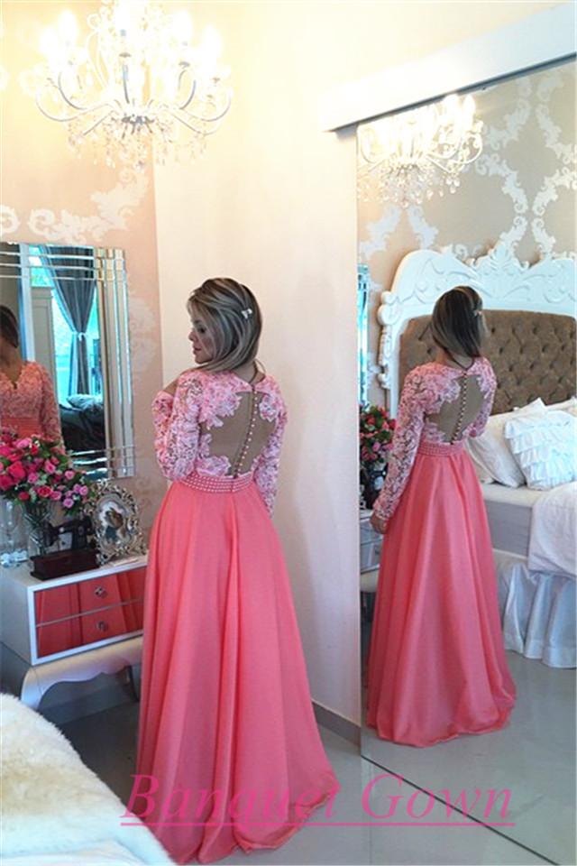 New Fashion Women Long Sleeves Lace Pearls Chiffon Prom Dresses V ...