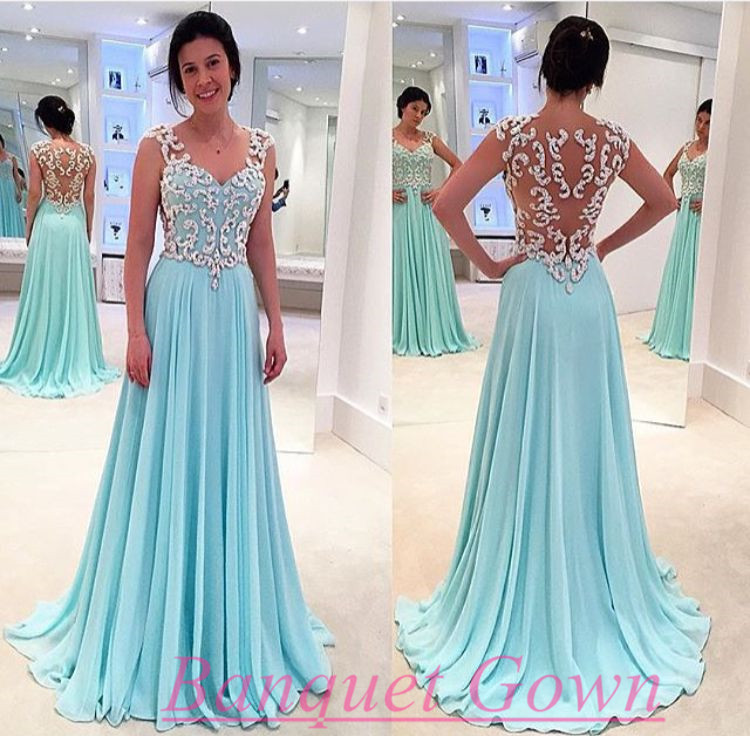 2016 Modest Tiffany Blue Prom Dresses A Line Backless Chiffon Long ...