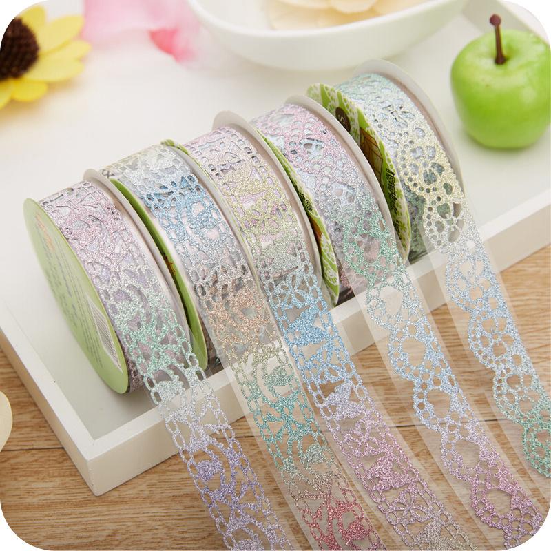 6pcs pastel lace glitter decorative tape washi tape free for Decoration tape