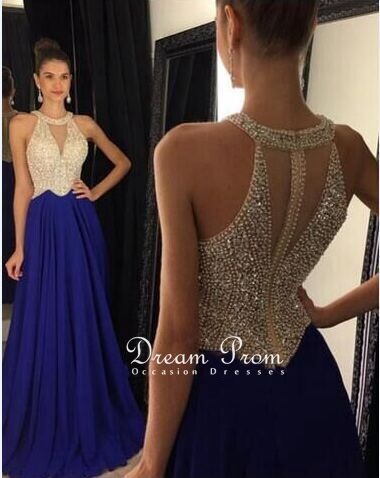 Blue long prom dress,elgant chiffon beading evening dress,dream prom ...