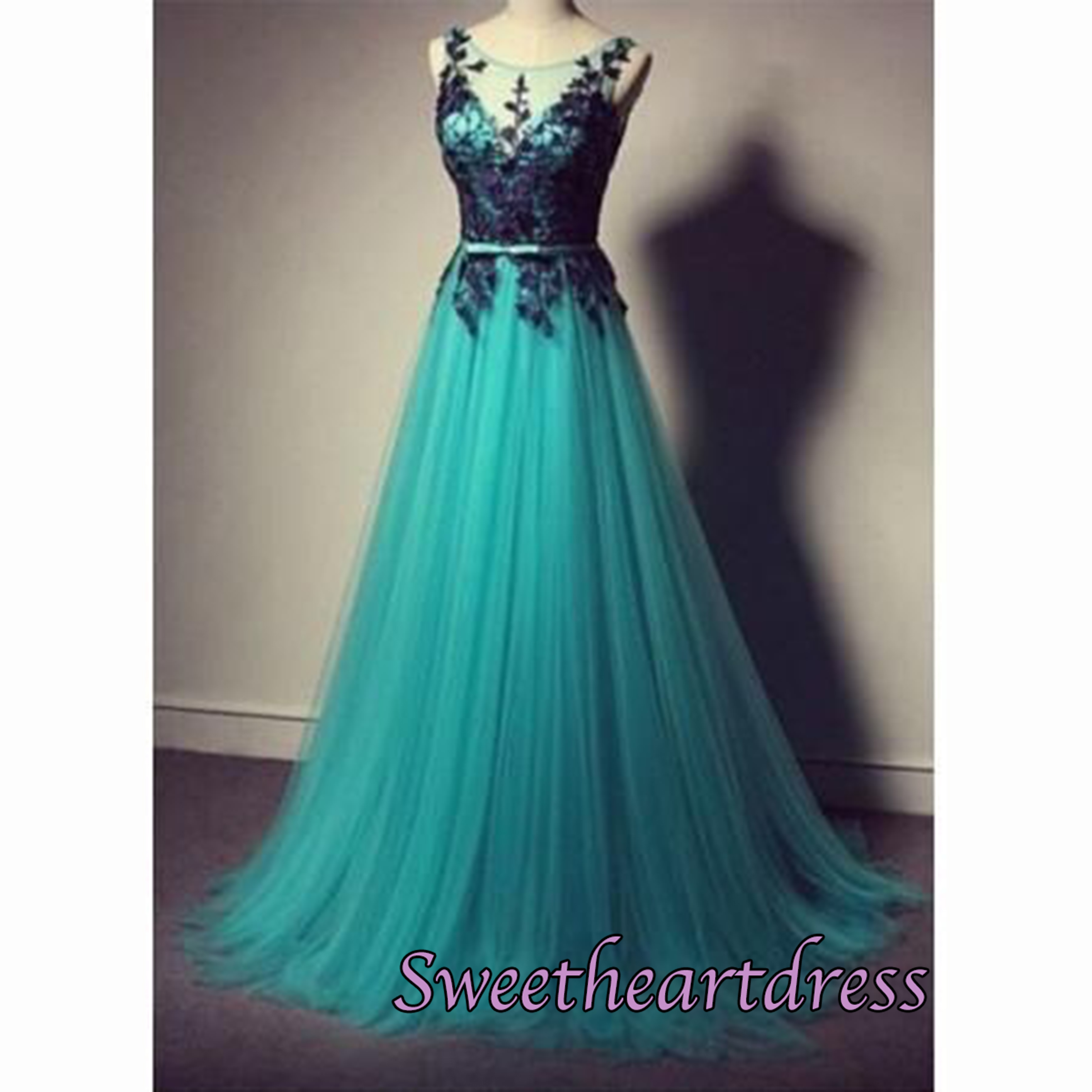 Cheap Prom Dresses by Sweetheart Dress · Green tulle applique A-line ...