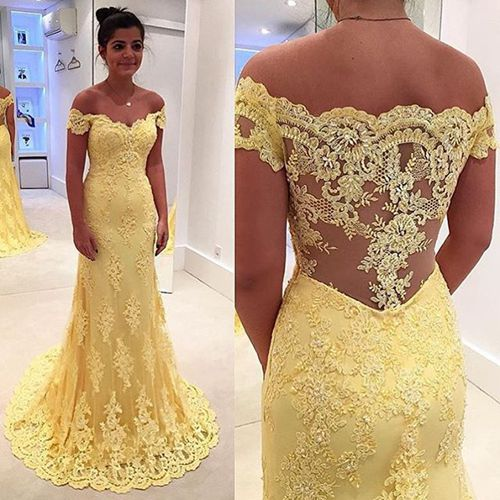 Yellow prom dress,A-line Lace long prom dresses,formal dresses ...