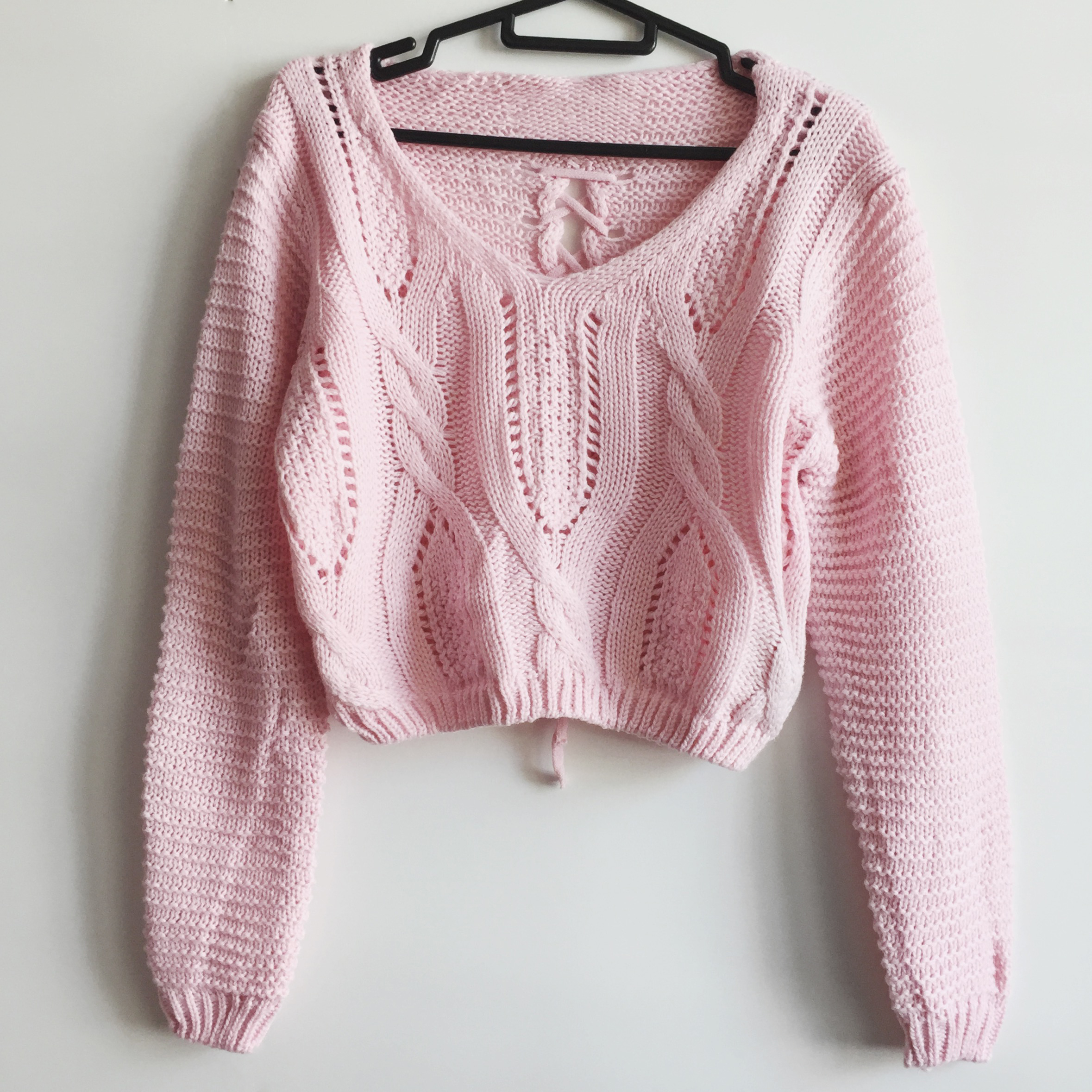 5f16f70721 Lace Up Back Cropped Knit Sweater (Pink) · Megoosta Fashion · Free ...