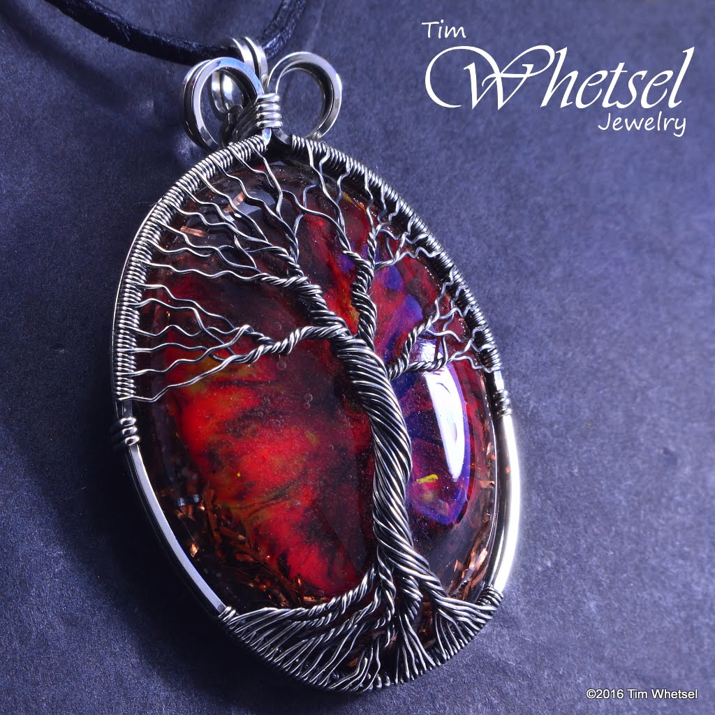 Sterling Silver Tree of Life Wire Wrapped Dark Red Orgonite Pendant ...