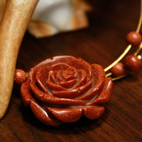 Goldstone Rose Memory Wire Choker Necklace