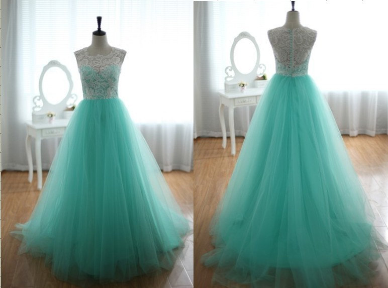 Custom Lace and Tulle Wedding Dress Prom Ball Gown Blue Tulle Party ...