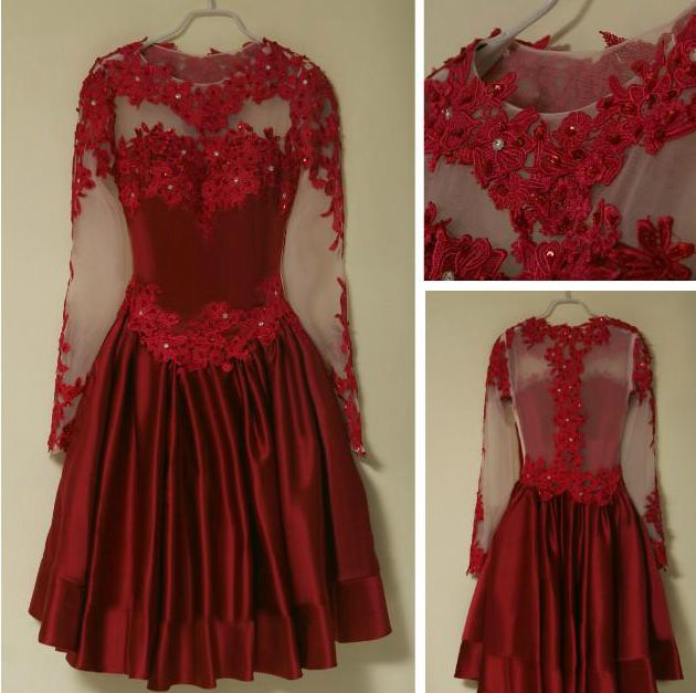 Burgundy long sleeve prom dresses, A-line lace short prom dress ...