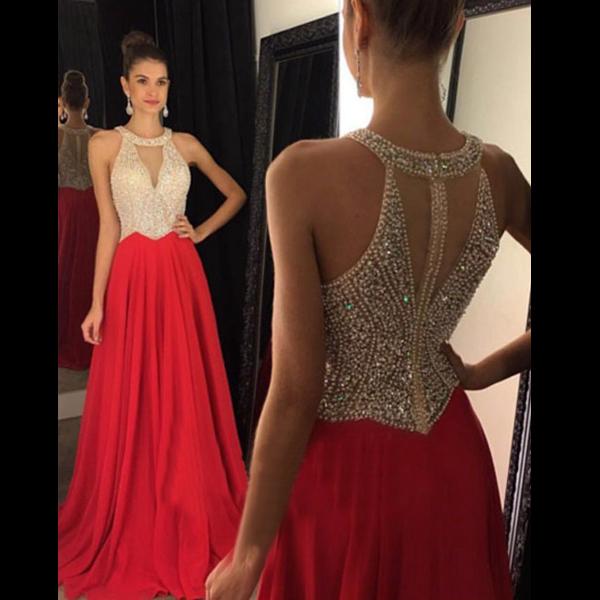 Red Prom Dress, Halter prom Dress, Mermaid Prom Dress, dresses for ...
