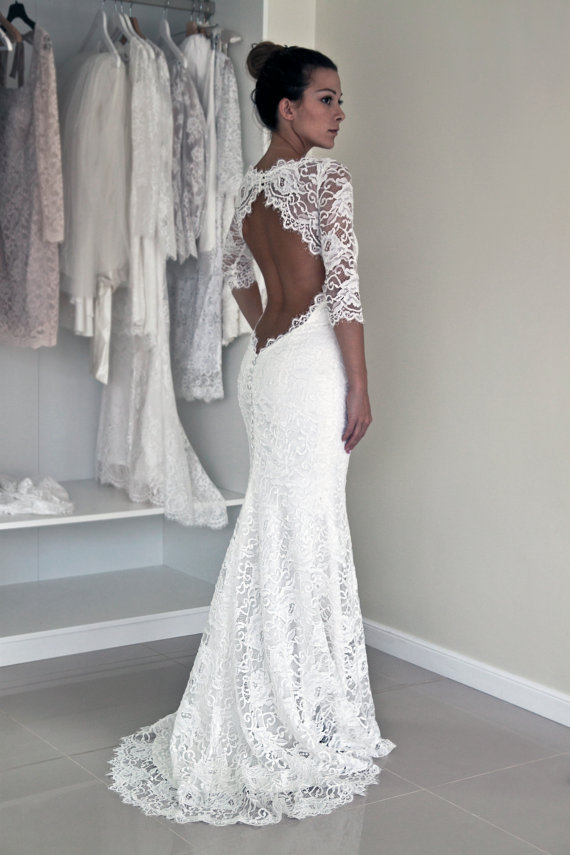 Lace Mermaid Sexy Wedding Dresses,Long Wedding Dresses,Backless ...