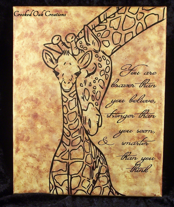 Mamma and Baby Giraffe Inspirational Art Canvas Wall Art · Crooked ...