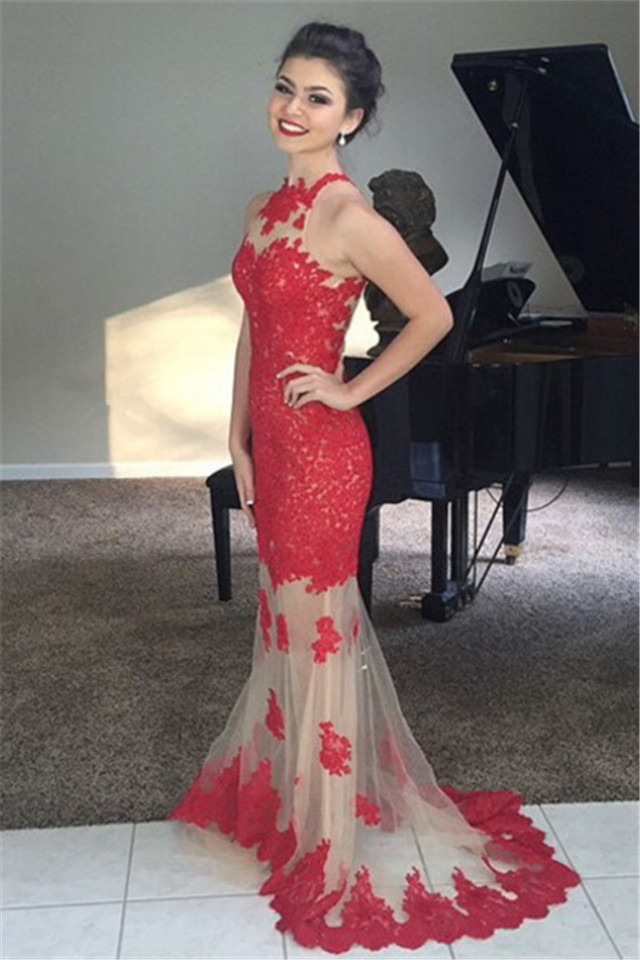 Burgundy Lace and Tulle Prom Gowns Illusion Neckline Sweep Train ...