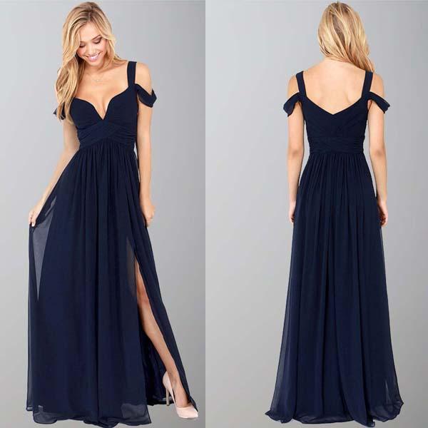 Navy Blue Bridesmaid Dress For Wedding Long Chiffon Formal With ...