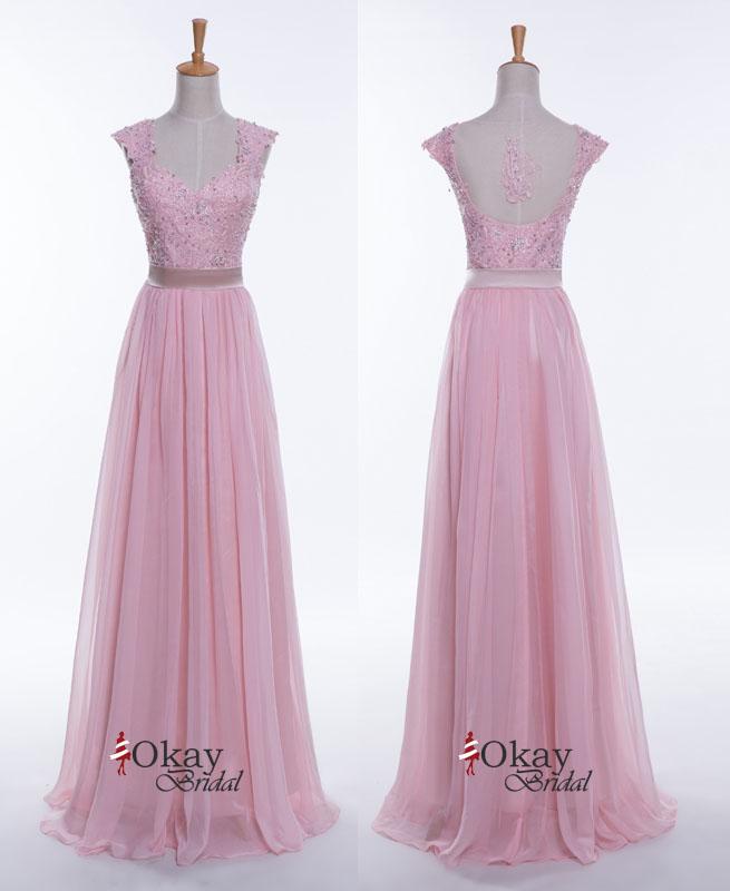 Pink bridesmaid dresses, lace bridesmaid dresses, long bridesmaid ...