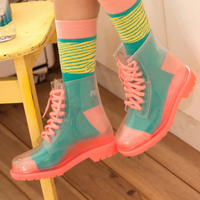 Korean cute transparent jelly rain boots