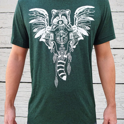 Raccoon shirt, graphic tee, tri blend, crew neck tee, green shirt, steampunk shirt, animal t shirt, gift for men,
