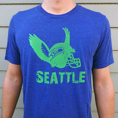 Seattle seahawks shirt, graphic tee, tri blend, crew neck tee, vintage seahawks, football shirt, fan gear, blue and green